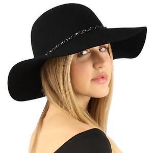 Winter-Soft-Wool-Felt-Chrome-Hatband-Floppy-3-1-2-034-Dress-Church-Hat-Adjust-Black