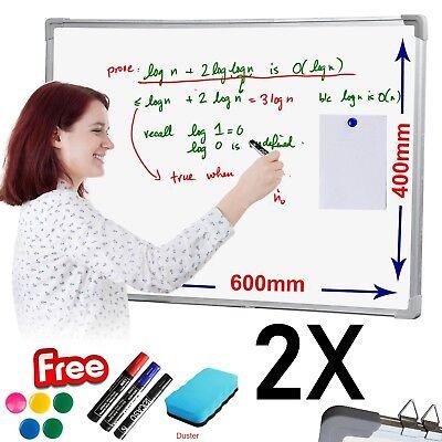 2X Magnetic White board Dry Wipe Drawing Board Eraser Office School Notice Meet