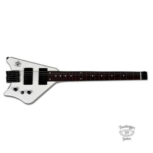 Bootlegger Guitar Spade White Finish Headless Electric Custom Hard Case