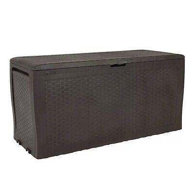 Keter Samoa 70 Gallon Rattan Resin Patio Storage Deck Box and Bench Outdoor Seat