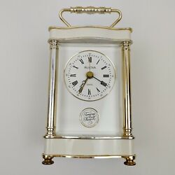 Bulova White and gold/silver French Style Quartz Table Clock Vintage W. Germany