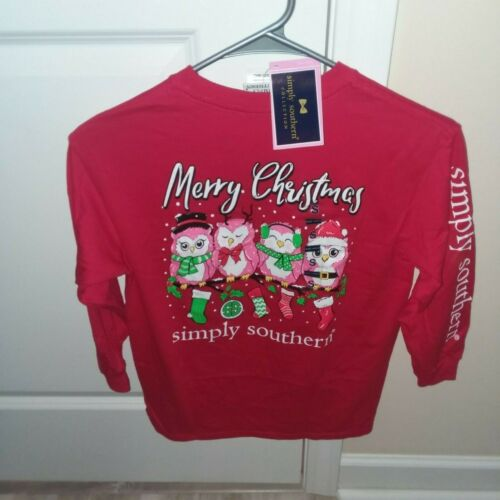 NEW Simply Southern Long Sleeve T Shirt Girls Youth CHRISTMAS OWL Red SMALL S
