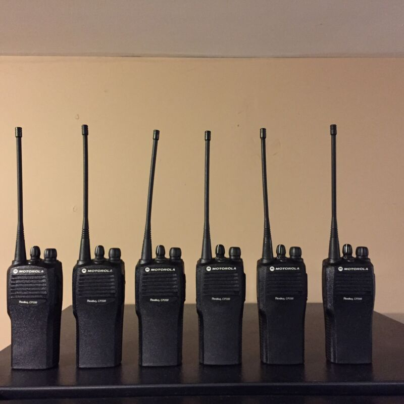 6 Refurbished Motorola CP200 UHF 16 Channel Radios W/ Gang Charger & New Acc