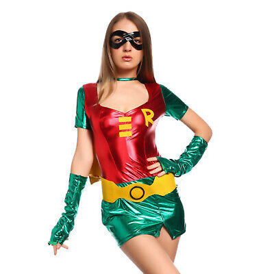 Damen Halloween Kostüm Superheldin Robin Hood hero f. Karneval Party Mottoparty
