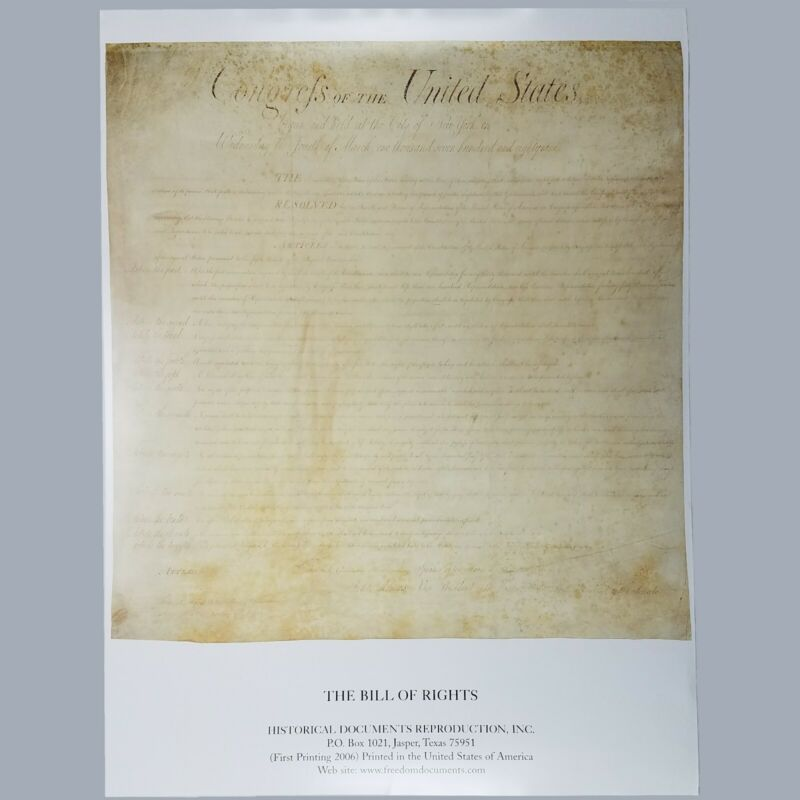The Bill of Rights Reproduction Full Size Color  Print