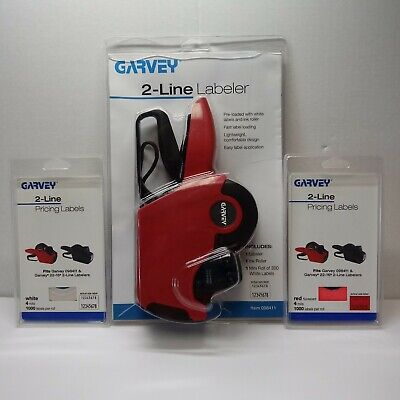 New Garvey 2-line Labeler 098411 1 Pack Each White And Red Labels Price Gun