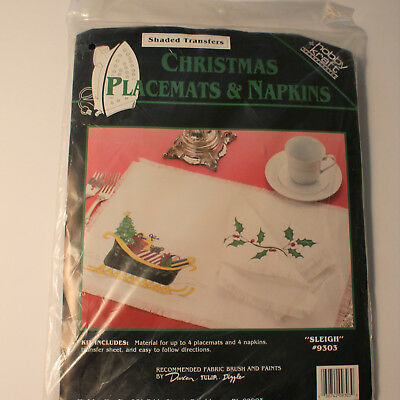 Christmas Sleigh Placemats & Napkins Kit Shaded Transfers for Fabric Paints 9303 for sale  Shipping to India