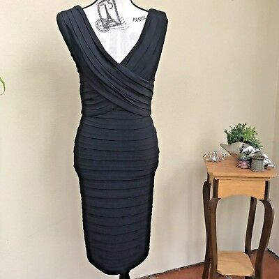 Tadashi Shoji Women's Dress Size XS Dress Stretch Bandage Shutter Wrap Zipper
