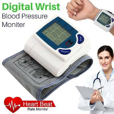 Automatic Digital Wrist Cuff Blood Pressure Monitor Heart Beat Pulse Rate Meter