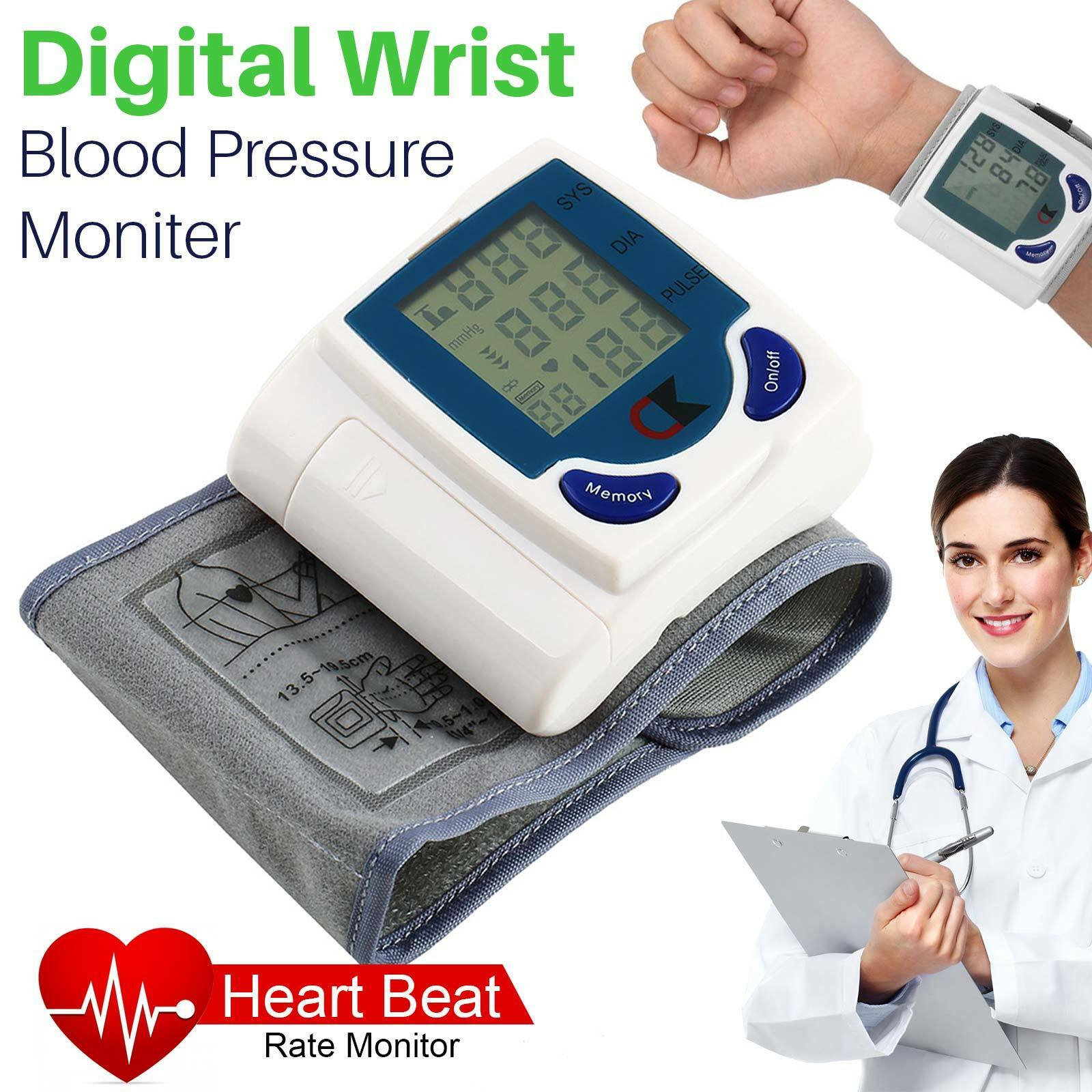 Automatic Digital Wrist Cuff Blood Pressure Monitor Heart Be