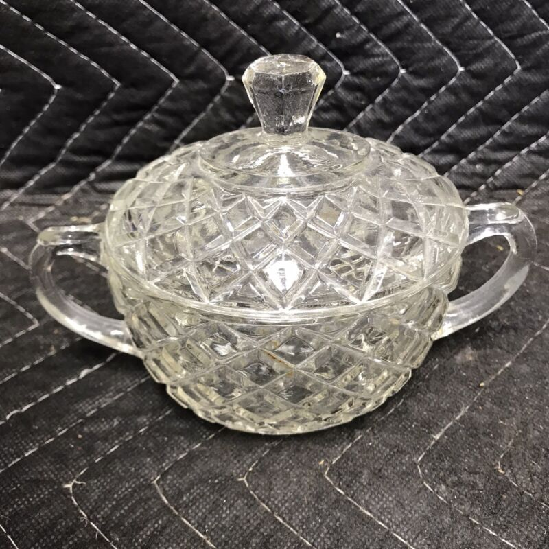 "Vintage Waterford SUGAR BOWL with LID Hocking Waffle Pattern 2.5"" Oval 1938-44"