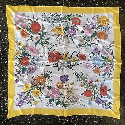 Gucci Silk Scarf Floral Vintage Yellow Italy 90cm Luxury V. Accornero
