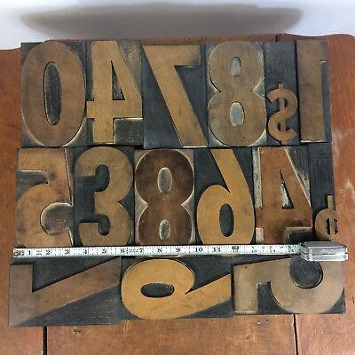 Vtg 6 Large Industrial Wood Printing Press Numbers Letters Blocks Design Decor