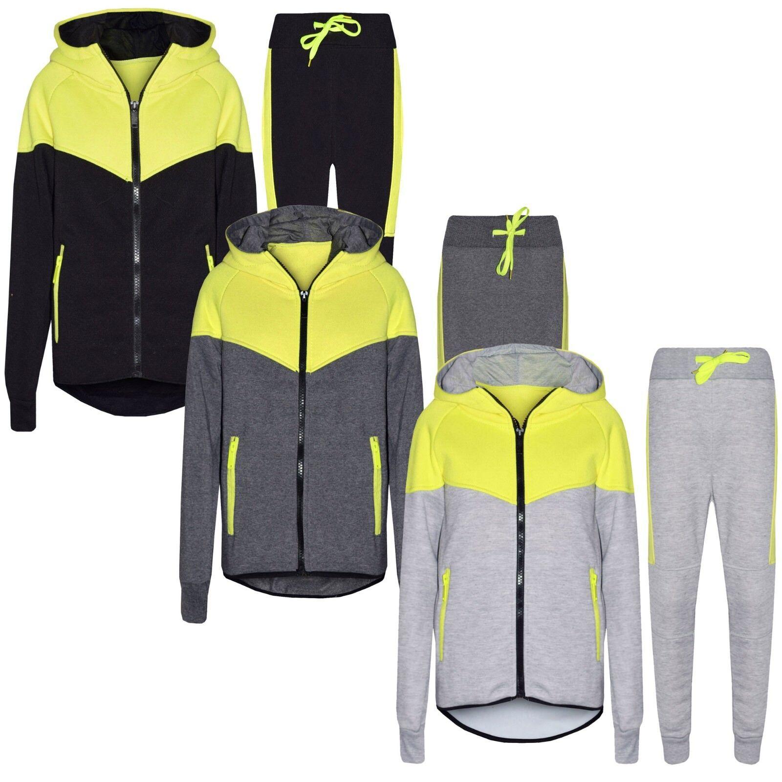 Jungen Slimfit Passform Kinder V Neon-Panel Trainingsanzug mit Kapuze Fleece