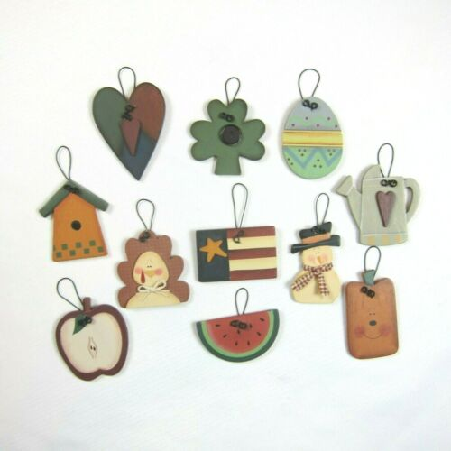 Lot 11 Primitive Folk Art Rustic Ornaments Holiday & Seasonal Valentines Easter