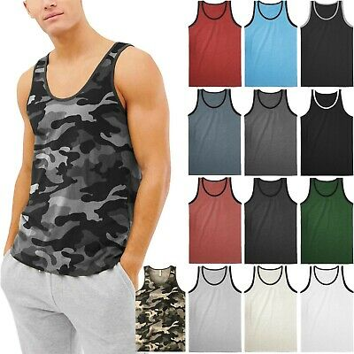 Mens TANK TOP SLEEVELESS SHIRTS Basic Gym Beach Active Tee Training -