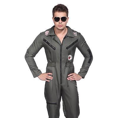 Pilot Kostüme (Army Pilot Kostüm Männer Pilotenkostüm Fliegeranzug Flieger Top Gun Kampfpilot)