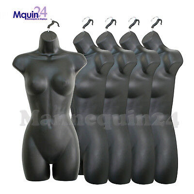 5 Pack Mannequin Torso Body Dress Form Black Female Plastic Hanging Forms