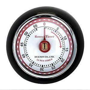 Dulton Kitchen Timer Magnetic 50s Rockabilly PinUp Round Vintage Retro Black