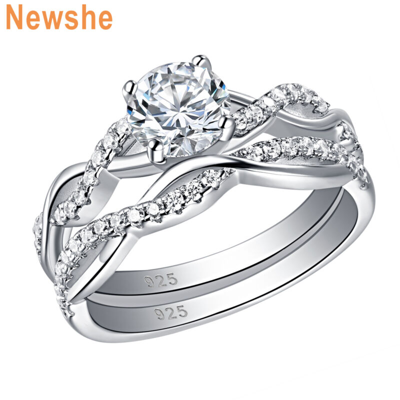 Newshe Engagement Wedding Ring Set Round Aaaa Cz For Women 925 Sterling Silver