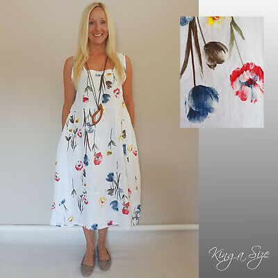 ITALY Sommer LEINEN Kleid Lagenlook  Plus Size Mode Mohn-Blumen Gr.54 weiß