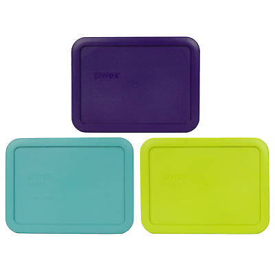 Pyrex 7210-PC 3 Cup Purple, Edamame Green, and Turquoise Rectangle Lid Covers](Purple And Turquoise)