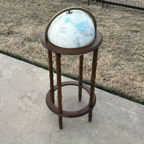 "Vintage Mid Century 12"" Crams World Globe w Wood Floor Stand w Mountain Relief"