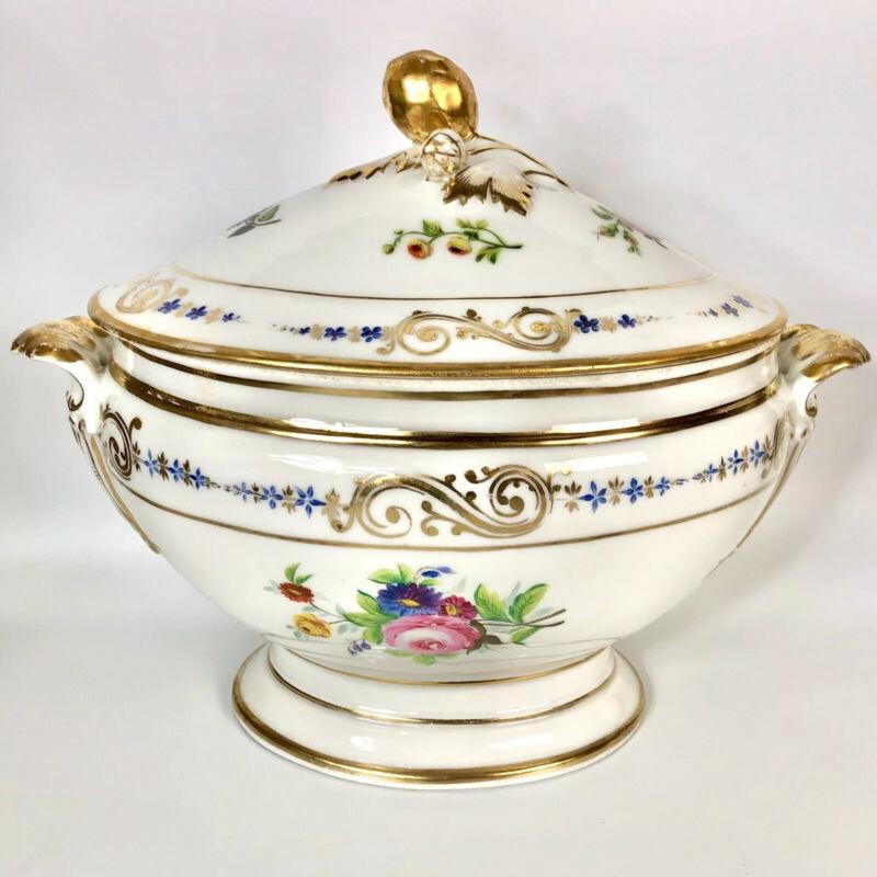 Antique Old Paris Sevres Style Large Porcelain Tureen Early 19c Handpainted