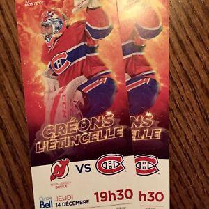 Billets Canadiens VS Devils Club Desjardins Section 207