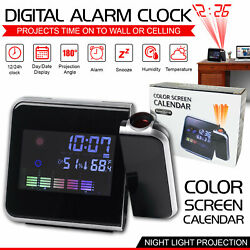 LED Digital Projection Alarm Clock Weather Thermometer With Snooze Backlight