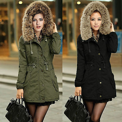 Damen Fleece Winter Jacke Kapuze Parka Mantel Kunst Fellkragen Warm Winterjacke Kapuze Parka