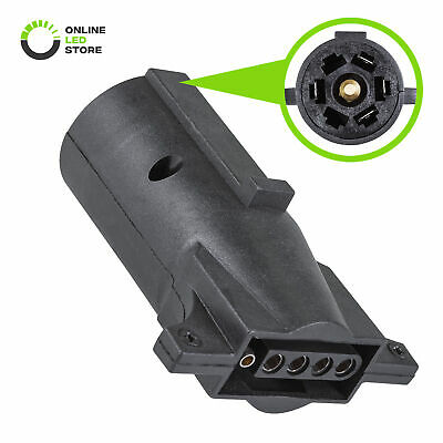 7-Way Blade to 5-Way Flat Trailer Wiring Plug Adapter (7-5pin Connector) RV Tow 7 Way Flat Pin Trailer