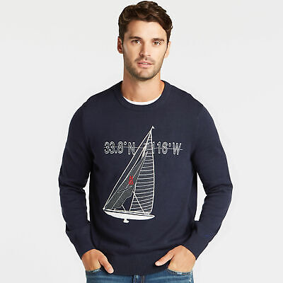 Nautica Mens Sailboat Applique Crewneck Sweater