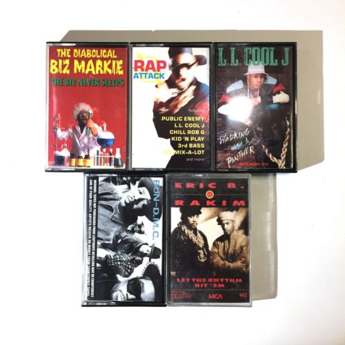 Old School Rap Cassette Lot of 5 - Biz Markie, LL Cool J, Run DMC, Erick B Rakim