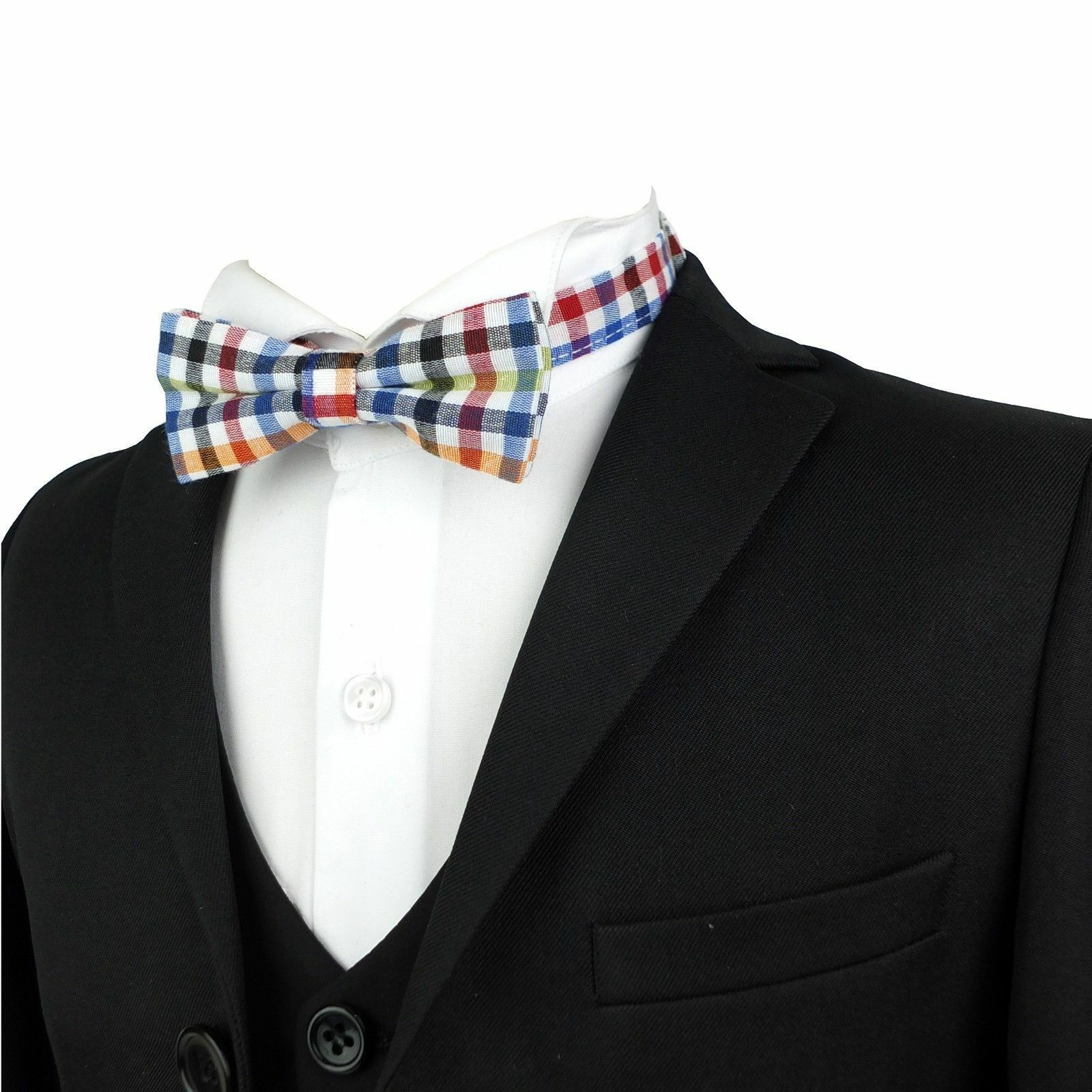 b79e80f9ce124 Details about Kids Fashion Check Bow Tie Boys Bow Tie Boys Red and Blue  Plaid Bow Tie