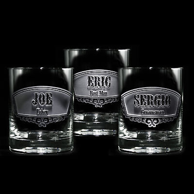Groomsmen,Engraved Double Old Fashioned Glass, Whiskey, Scotch, Bourbon SET OF 6