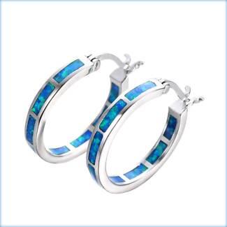 BLUE FIRE CREATED OPAL STERLING SILVER 925 3MM HOOP EARRINGS 21MM