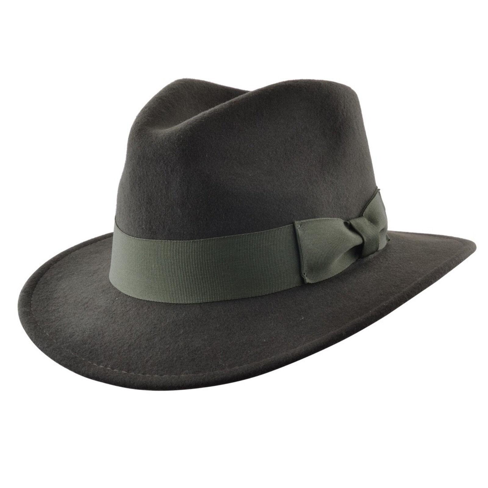 Herren Knautschfähig Indiana 100% Wolle Filz Fedora Filzhut Hut mit breit Band | eBay