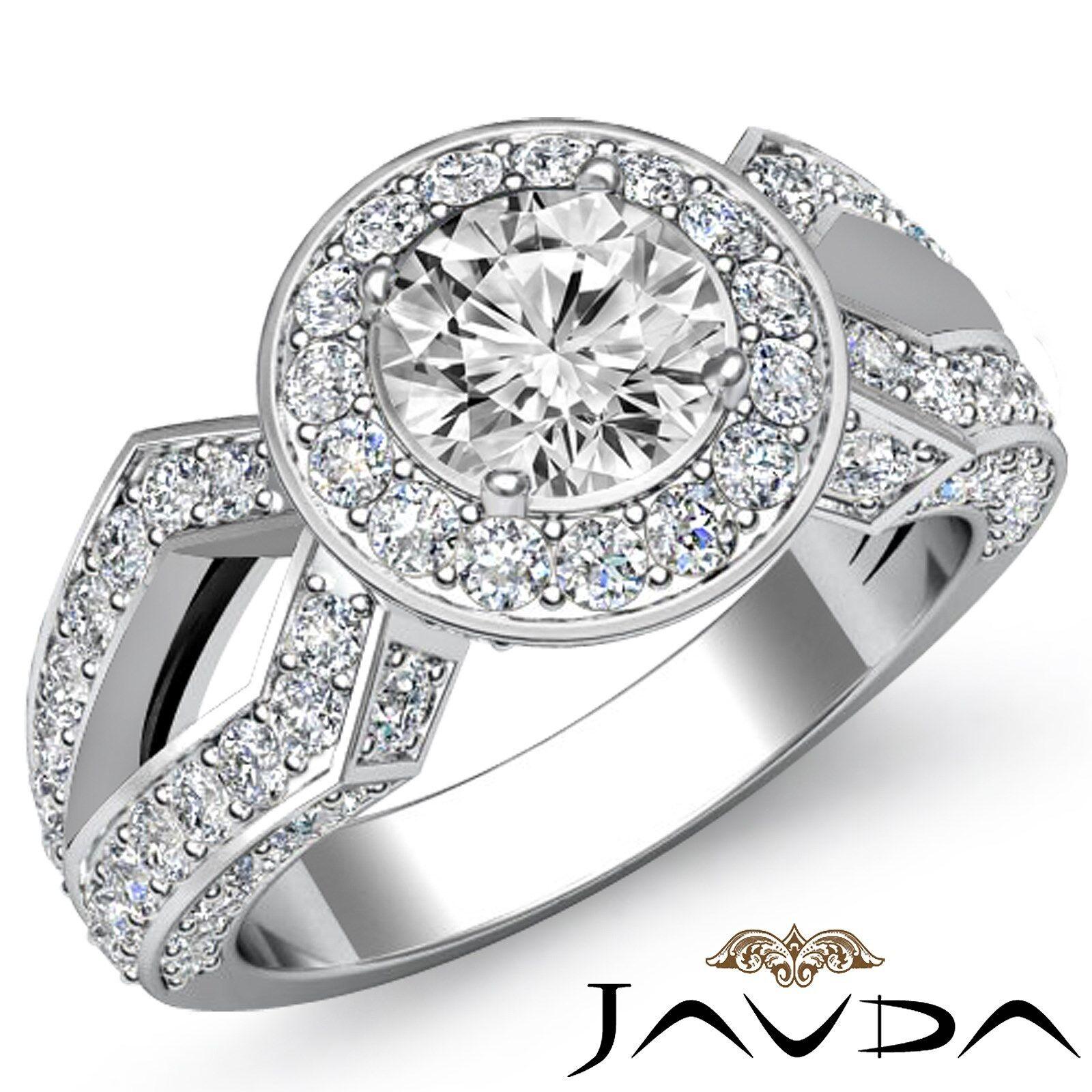 Halo Split Shank Round Diamond Engagement Filigree Ring GIA I Color SI1 2.92 Ct