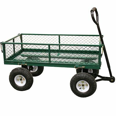 Rhyas Heavy Duty Garden Trolley Cart Wheelbarrow Trailer Large 320kg