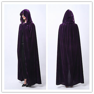 Velvet Hooded Cloak  Wicca Robe Medieval Witchcraft Larp Cape USA Ship - Purple Hooded Cape