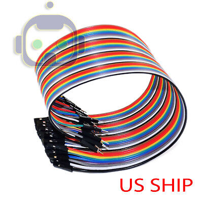 1x 40pcs Dupont Wire Jumper Cables 20cm 2.54mm Male To Female 1p-1p For Arduino