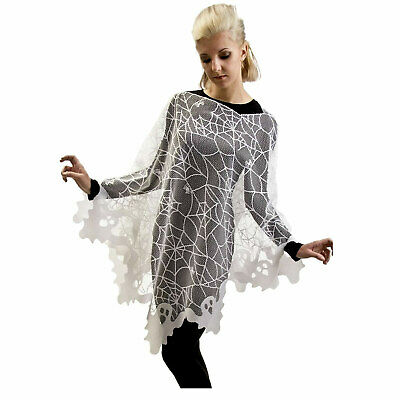 Halloween White Ghost Costume (USA MADE Womens White Ghost Spiderwebs Lace Poncho Halloween Costume Spooky)