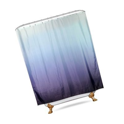 Riyidecor Ombre Blue Shower Curtain Panel 72x84 Inch Extra Long with Metal Ho...