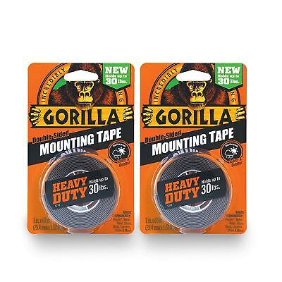 Gorilla Heavy Duty Double Sided Mounting Tape 1 Inch X 60 Inches Blackpack...