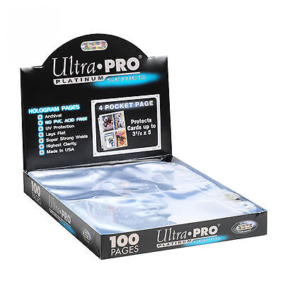 100 Ultra Pro Platinum 4 Pocket Pages 3 X 5 Sheets Protectors Brand New