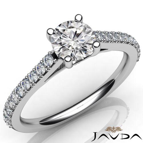 Double Prong Set Round Diamond Engagement GIA E VS1 14k White Gold Ring 0.8ct