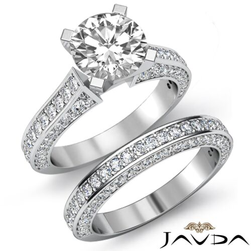 3.2ct Round Diamond Classic Engagement Bridal Set Ring GIA F VS2 14k White Gold