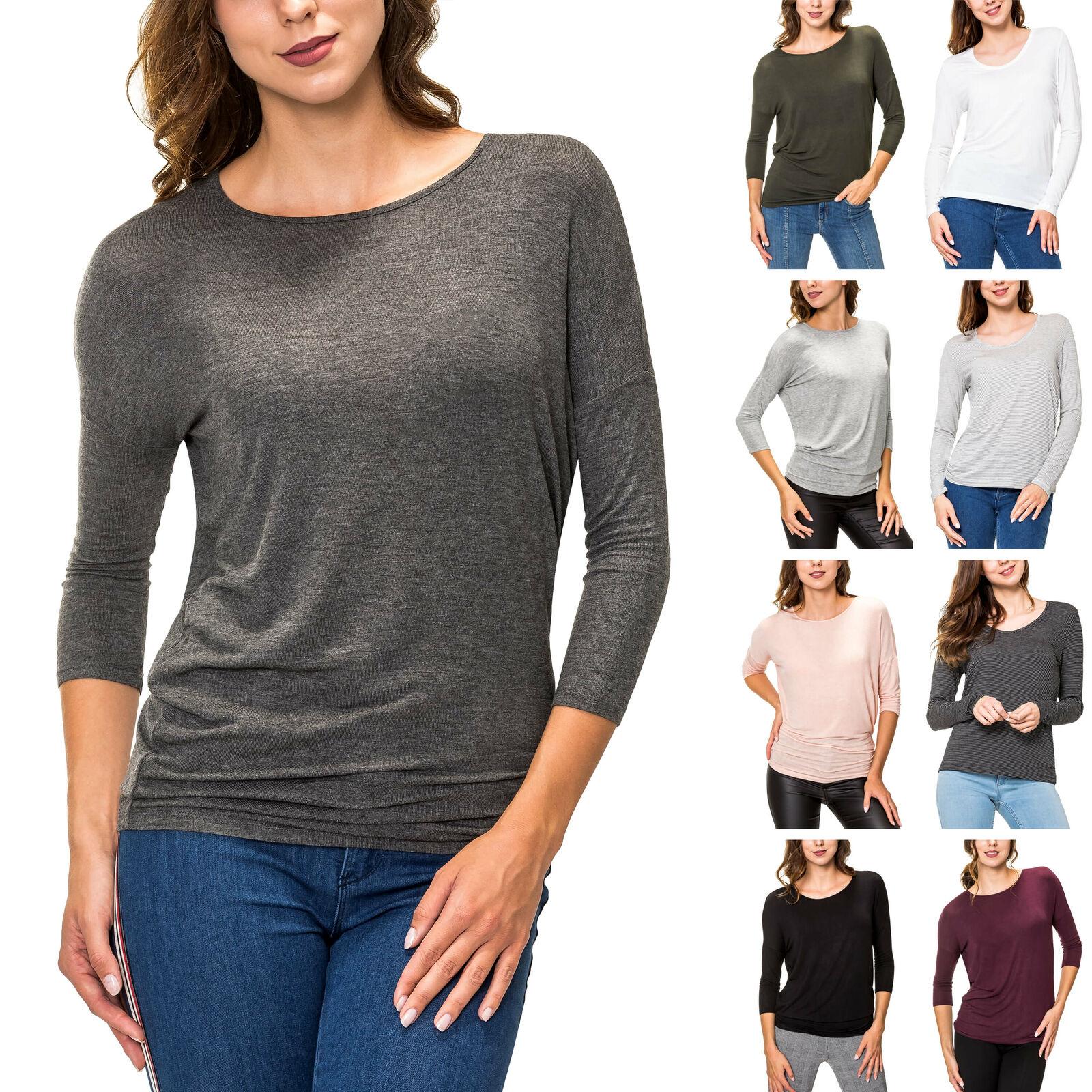 Pieces Damen Langarmshirt Longsleeve T-Shirt Shirt Unifarben O-Neck Damenshirt
