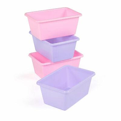 Tot Tutors SM098 Standard Plastic Storage Container Bins, Pink/Purple (Set of 4) (Purple Storage Bins)